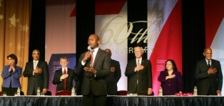 Paul Heflin sings the National Anthem at the Hubert H. Humphrey Civil Rights Award Dinner